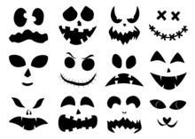 Set Of Halloween Carved Faces Silhouettes. Black Elements For Decorating Pumpkins. Template With Eyes, Mouths And Noses For Jack Lantern. Vector Illustration
