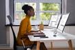 Leinwandbild Motiv African American Woman Programmer. Girl Coding