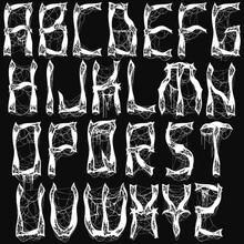 Metal Music Style Alphabet.White Typeset On Black Background.