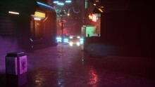 A Rainy Evening Street Of The Cybernetic Neon City Of The Future. Walk Through The City Of The Future. 3D Rendering