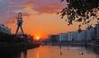 Leinwandbild Motiv Sonnenuntergang Hafen