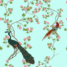 Illustration In Chinoiserie Style With Pheasant And Peacock On Rose Bushes On A Blue Background. Vector. Seamless Pattern For Wallpaper, Fabrics, Packaging