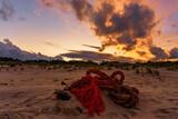 Fototapeta Fototapety z morzem do Twojej sypialni - Czerwony zachód słońca, czerwona lina na piasku.