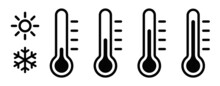 Temperature Symbol Set. Temperature Icons Vector Set . Thermometer Icons Isolated.