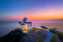 The Small Church Of Agios Nikolaos At The Entrance Of The Port On The Island Of Lemnos In Greece