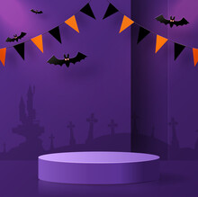 Halloween Background Design With 3d Podium Round, Square Box Stage Podium Ghost, Pumpkin, Bat, Lamp, Gravestone, Moon, Night, Spooky,gravestone And Paper Cut Art Elements Craft Style On Background.