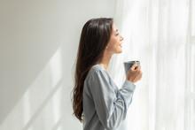 Woman Drink Coffee Open Window Curtains Breathe Fresh Air