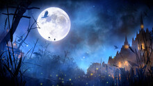 A Mystical Fairy-tale Landscape Of A Night Sinister Kingdom With A Huge Moon, A Blue Night Starry Sky, A Swamp In The Foreground And Large Castles With Glowing Windows In The Second. 2d Illustration.