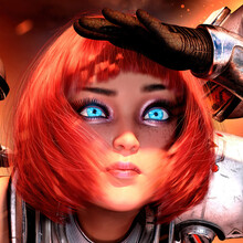 A Sweet, Beautiful Young Girl With Turquoise Eyes And A Square Red Hairstyle Looks Curiously Forward, Hiding Her Palm From The Sun,  Wearing A Technological Suit In The Style Of Sci Fi 3d Rendering
