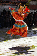 Bhutan Mask Dance Festival Monk Jump