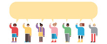 Enfants Groupe Doigt Levé Question Bulle Conversation Question éducation école Formes Géométriques Simples Diversité Discussion Sourire Vectoriel Illustration
