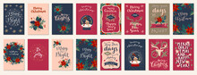 Merry Christmas And Happy New Year Vintage Hand Drawn Greeting Cards, Gift Tags, Postcards, Posters. Calligraphic Typography Artwork Illustration
