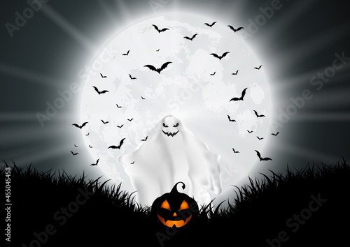 Fototapeta halloween background with ghost and pumpkin in moonlit landscape