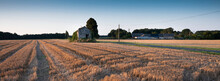 Old Shed In Empty Cornfield At Sunset In Parc Naturel Régional Loire-Anjou-Touraine