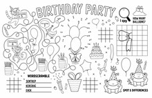 Vector Happy Birthday Placemat For Kids. Holiday Party Printable Activity Mat With Maze, Tic Tac Toe Charts, Connect The Dots, Find Difference. Black And White Play Mat Or Coloring Page.