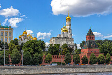 Kremlin Wall And Golden Domes Of Churches On Sobornaya Square