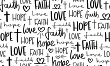 Religious Words Faith Hope Love Seamless Pattern Design
