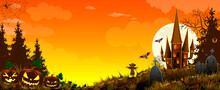 Landscape With Pumpkins, Castle And Bats Halloween. Pumpkins And A Scarecrow Against The Background Of A Forest, A Castle, And A Sky With Clouds. Grass. Cemetery With Monuments. Bats In The Sky
