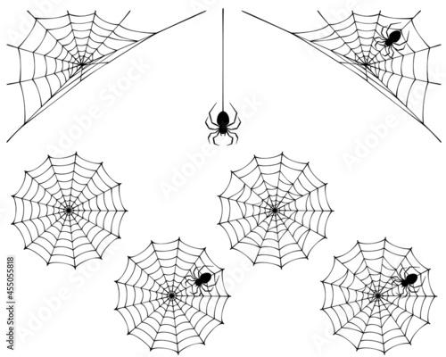 Obraz na plátně 蜘蛛の巣と蜘蛛のシルエット