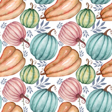 Autumn Pattern With Multi-colored Pumpkins And Leaves On A White Background. Pattern For Fabric, Paper, Various Items For Thanksgiving, Halloween, Harvest, Etc.