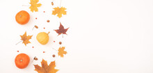 Autumn Flat Lay. Maple Leaves, Pumpkins And Acorns On A White Background. Copy Space