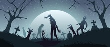 Zombies On Graveyard. Cemetery Background With Scary Monsters Silhouettes And Creepy Gravestones. Spooky Night Landscape. Undead Climb Out Of Grave. Vector Horror Scene With Walking Dead