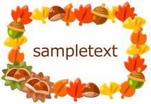 秋の葉っぱと木の実のフレーム