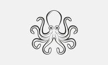 Octopus. Vintage Octopus Icon For Logo, Emblem, Poster, Banner Design. Octopus Design For Food And Nautical Business. Print For T-shirt, Tattoo. Vector Illustration