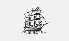Old Ship Vintage Silhouette. Pirate Boat, Sail Ship Illustration In Trendy Vintage Hipster Style. Nautical, Marine Logo Template. Vector Illustration