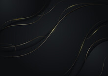 Abstract Black Wave Shape With Gold Thread Lines On Dark Background Luxury Style