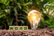 Woodblock States That The WORD On The Floor And Energy-saving Lamps Illuminate The Concept Of Green Energy And Energy Saving.