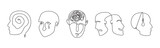 Continuous line drawing mental disorder vector icons, abstract concepts of various psychic health problems one line technique, human heads sketches showing personality disorders or mental illnesses