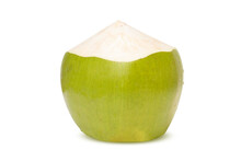 Fresh Green Coconut With Drops Of Water Isolated On White Background With Clipping Path.