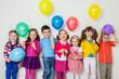 Leinwandbild Motiv happy children with balloons