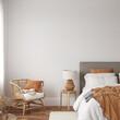 Friendly interior style. Bedroom room. Wall mockup. Wall art. 3d rendering, 3d illustration