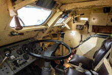 Cockpit Of The Driver And Commander Of A Self-propelled Cannon Howitzer