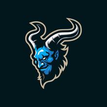 Devil Mascot Logo Design Vector With Modern Illustration Concept Style For Badge, Emblem And T Shirt Printing. Head Devil Illustration.