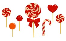 Set Of Various Lollipops And Candies. Christmas Sweets. Cartoon Style.