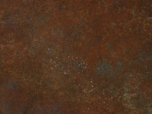 Corrosion. Metal Plate With Weathered Colors And Rust. Natural Light. Blue And Orange Metal Plate. Old Oxidized Colorful Textured Surface. Abstract Grunge Rusty Metallic Background For Multiple Uses.