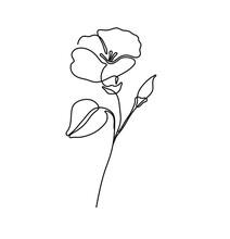 Vector Isolated Simple Tiny One Line Single Line Morning Glory Flower. Single Line Small Minimal Flower Tattoo.