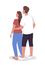 Couple Embracing Each Other Semi Flat Color Vector Characters. Full Body People On White. Watching Sunset Together Isolated Modern Cartoon Style Illustration For Graphic Design And Animation
