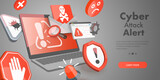3D Vector Conceptual Illustration of Cyber Attack Alert, Stealing Personal Information