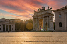 Arch Of Peace In Milan At Sunset. It Is One Of The Main Symbols Of The City Of Milan, Lombardy, Italy, Europe