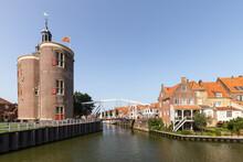 Enkhuizen, A Medieval City With Beautiful Monumental Buildings Such As The Historic City Gate De Drommedaris.