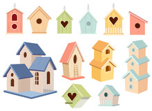 Set Of Wooden Bird Houses, Colorful Birdhouses Hang On Chain, Home Or Nest With Roof, Round Or Heart Shaped Hole