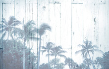 Palm Trees Tropical Sky Background Double Exposure Over Blue Vintage Wood Texture