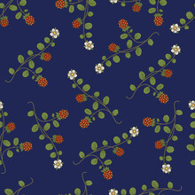 Seamless Floral Pattern With Branches Of Strawberry Plant. Green Leaves, Ripe Red Berries And White Flowers On Blue Background. Folk Style.