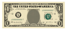 US Dollar 1 Banknote -American Dollar Bill Cash Money Isolated On White Background.