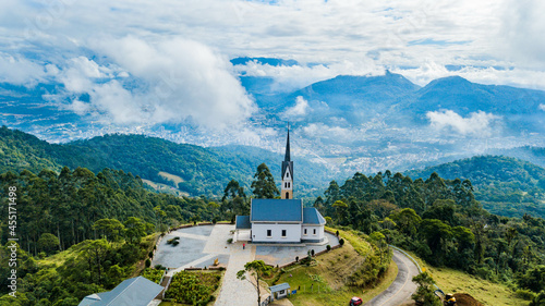 Fotografie, Obraz Chiesetta Alpina - Jaraguá do Sul - Church on the mountain and viewpoint of the