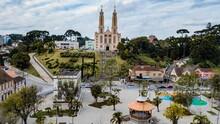 São Bento Do Sul SC - Aerial View Of The Parish Church And Central Square Of São Bento Do Sul, Santa Catarina